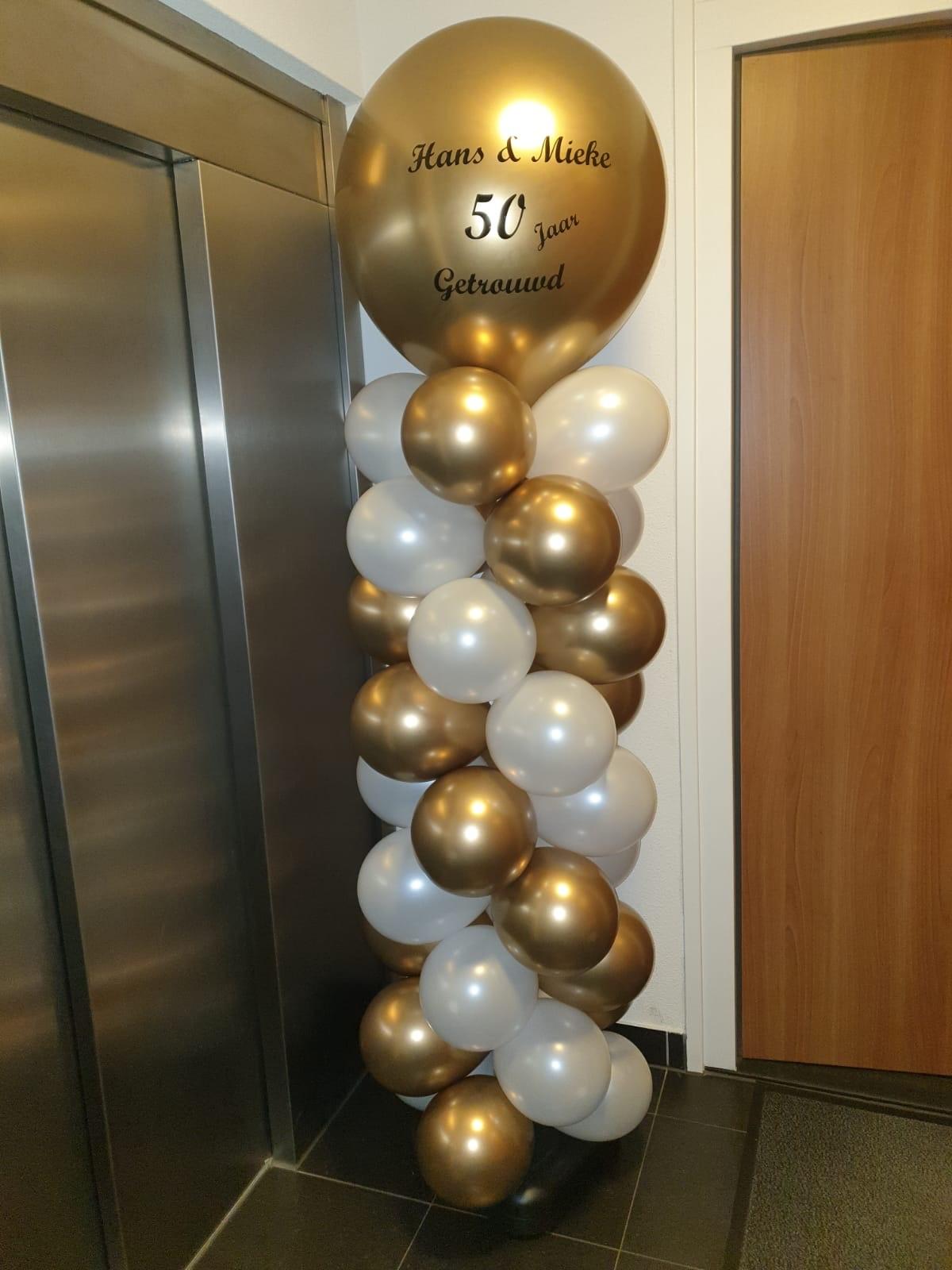 Ballonnenpilaar bedrukt 50 jaar