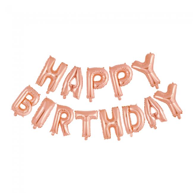 Folieballonnen set 'Happy Birthday' goud rose