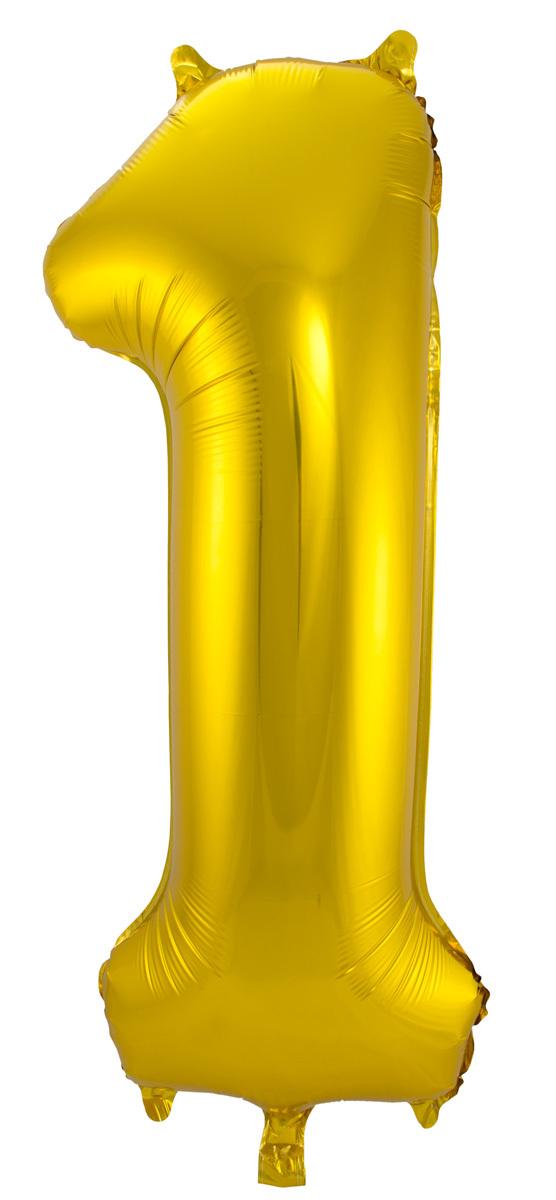 Folie ballon - goud cijfer 1 - 86 cm