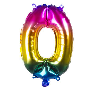 Folieballon rainbow '0' (36 cm)