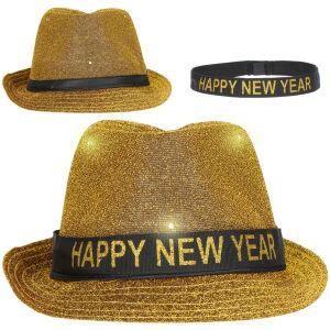 Trilby Hoed 'Happy New Year' Goudkleurig met LED