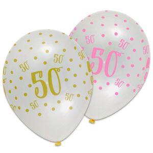 Transparante ballon met opdruk 50 - roze en goud