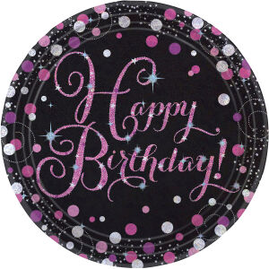 Borden Happy Birthday Sparkling Celebration - roze/zilver