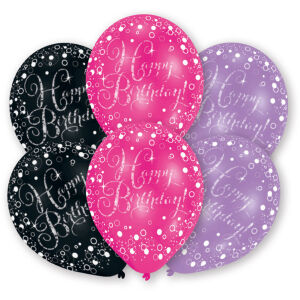 Latex ballonnen Happy Birthday Sparkling Celebration - roze/paars/zwart