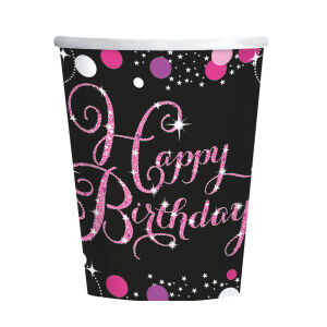 Bekers Happy Birthday Sparkling Celebration - roze/zilver
