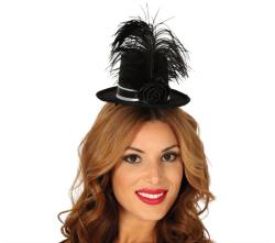 Mini hoedje met Veren - zwart