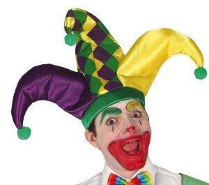 Driepuntige hoed voor een Nar groen/geel/paars