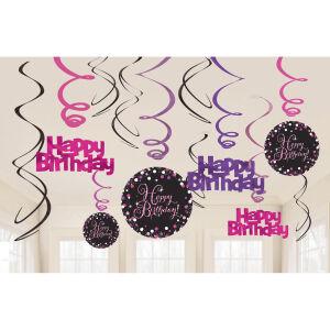 Hangdecoratie Swirl Happy Birthday Sparkling Celebration - roze/zilver