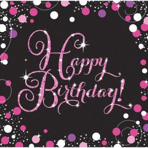 Servetten Happy Birthday Sparkling Celebration - roze/zilver
