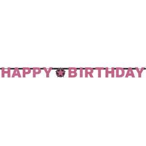Letterslinger Happy Birthday Sparkling Celebration - roze/zilver