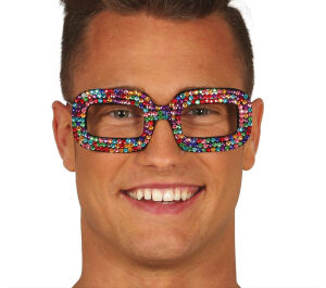Bril multicolor glittersteentjes