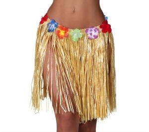 Hawaiiaanse rok met bloemen 45cm