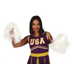 Set Cheerleader Pom Pom's - 2 stuks - 80gr - wit