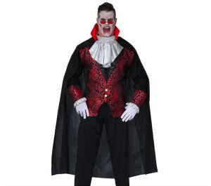 Zwarte Dracula cape met rode kraag 140cm