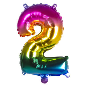 Folieballon rainbow '2' (36 cm)