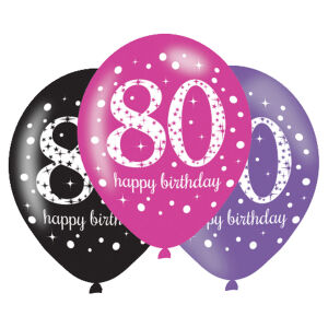 Latex ballonnen 80 jaar Sparkling Celebration - roze/zilver