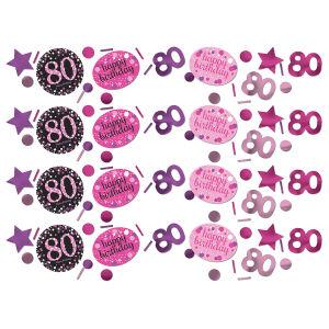 Tafel confetti 80 jaar Sparkling Celebration - roze/zilver