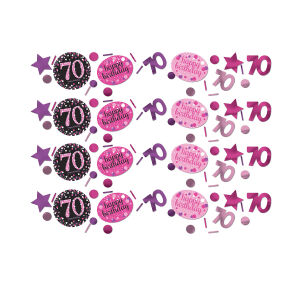 Tafel confetti 70 jaar Sparkling Celebration - roze/zilver