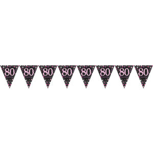 Vlaggenlijn 80 jaar Sparkling Celebration - roze/zilver