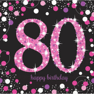 Servetten 80 jaar Sparkling Celebration - roze/zilver