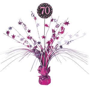 Tafel decoratie 70 jaar Sparkling Celebration - roze/zilver