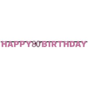 Letterslinger 80 jaar Sparkling Celebration - roze/silver