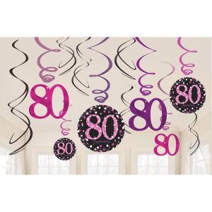 Hangdecoratie Swirl 80 jaar Sparkling Celebration - roze/zilver