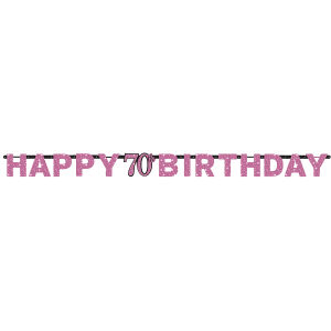 Letterslinger 70 jaar Sparkling Celebration - roze/zilver