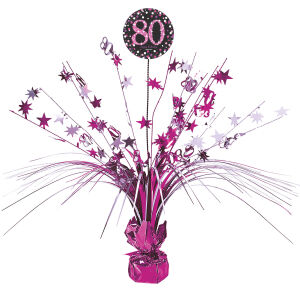 Tafel decoratie 80 jaar Sparkling Celebration - roze/zilver