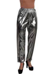 Metallic Folie Damesbroek - zilver
