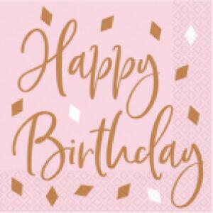 Servetten Happy Birthday Rosé Gold Blush 16st