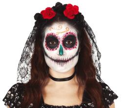 Tiara Day of the Dead - zwart en rode bloemen