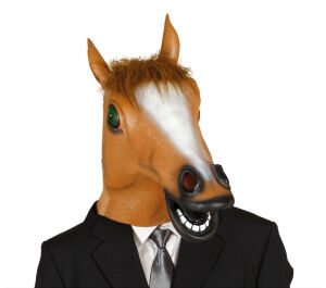 Masker paard met haar