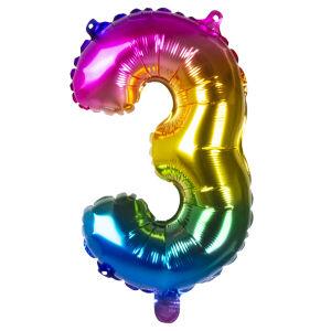 Folieballon rainbow '3' (36 cm)