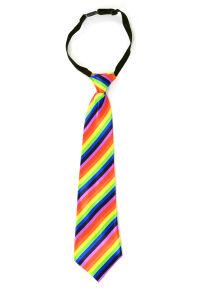 Luxe stropdas satijn regenboog