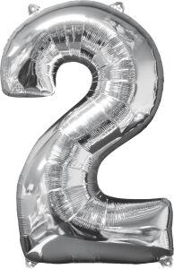 Folieballon Middelmaat Getal 2 Zilver L26 43x66cm