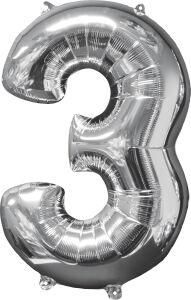 Folieballon Middelmaat Getal 3 Zilver L26 43x66cm