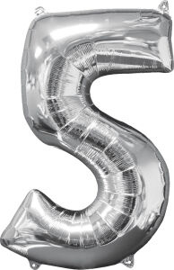 Folieballon Middelmaat Getal 5 Zilver L26 45x66cm