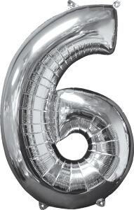 Folieballon Middelmaat Getal 6 Zilver L26 43x66cm