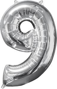 Folieballon Middelmaat Getal 9 Zilver L26 43x66cm