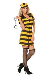 Sexy Boevenjurk Gestreerpt - geel/zwart