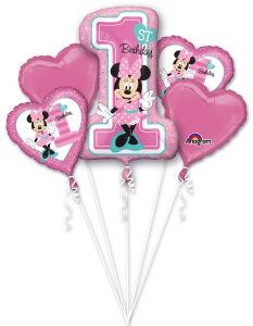 Folieballon Bouquet Minnie 1st Birthday 5-delig P75