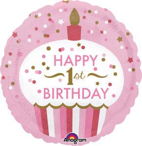 Folieballon Standard 1st Birthday Cupcake Girl S55 43cm