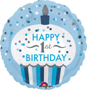 Folieballon Standard 1st Birthday Cupcake Boy S55 43cm