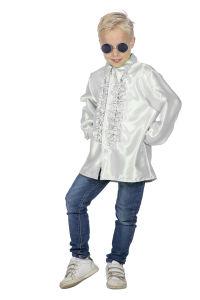 Ruchesblouse satijn voor kinderen - wit