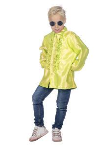 Ruchesblouse satijn voor kinderen - neon-geel