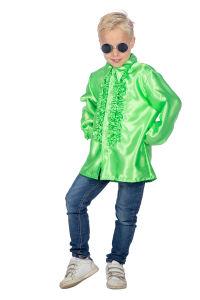 Ruchesblouse satijn voor kinderen - neon-groen