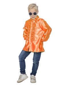 Ruchesblouse satijn voor kinderen - neon-oranje