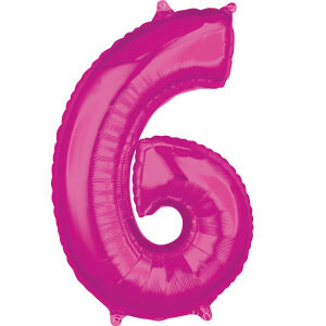 Folieballon Middelmaat Getal 6 Roze L26 43x66cm