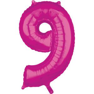 Folieballon Middelmaat Getal 9 Roze L26 43x66cm